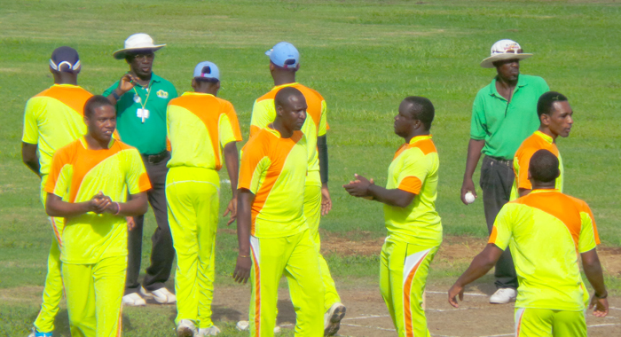 iShallz Byam Physical Therapy celebrate a wicket. (IWN photo)