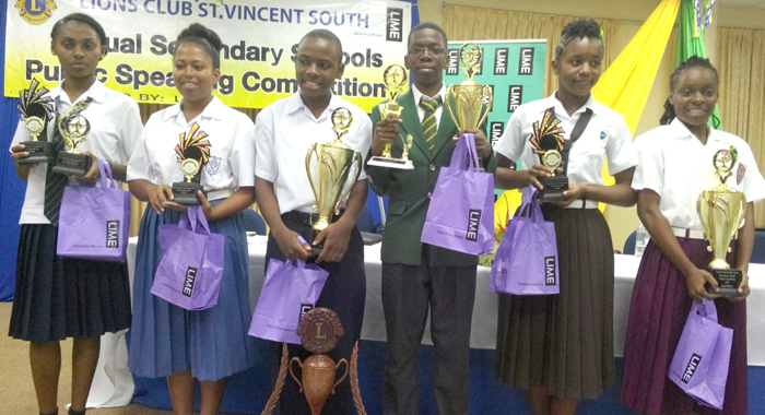 The finalists: From Left: Andrieka Samuel of GHS, Shaiyeid Eunis of SJCM, Eric February of MVSA, Crislon Fraser of SVGS, Gailesha Huggins CLSS, and Damali James BCK.