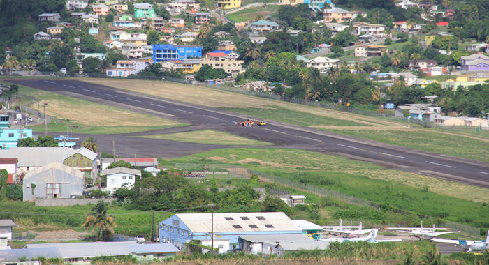 A panoramic view of the E.T. Joshua Airport showing the damaged segment of the runway. (IWN photo)