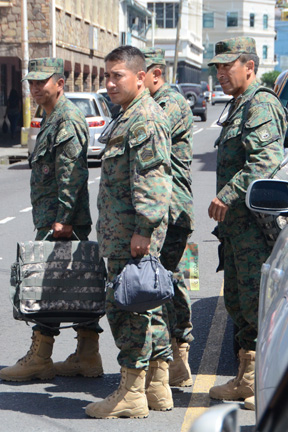 Ecuadorian soldiers photographed in Kingstown on Sept. 25, 2014.