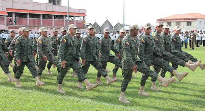 Ecuadorian Army Corp of Engineers, who construct the bridges, participate in SVG's Independence parade on Monday. (IWN photo)