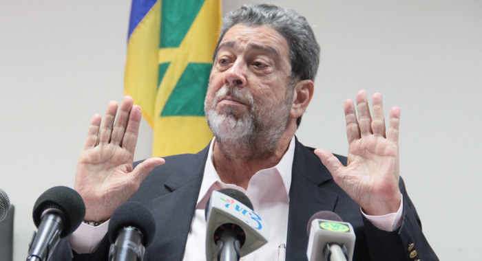 """I have heard nothing to change my mind on the subject."" -- PM Gonsalves (IWN photo)"
