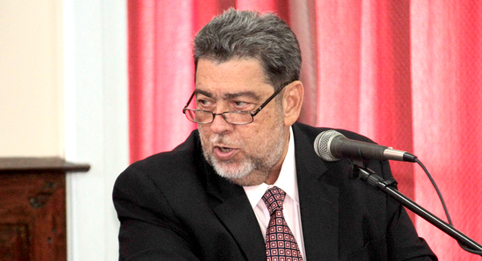 Prime Minister Dr. Ralph Gonsalves speaking in Parliament on Friday. (IWN photo)