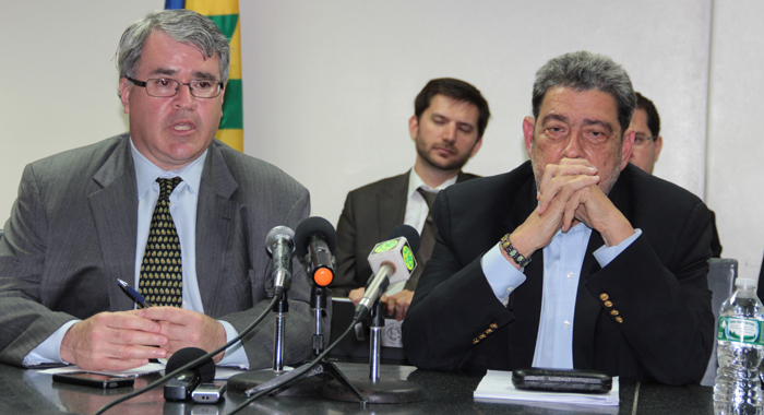 Elie Canetti of the IMF, left, and Prime Minister Dr. Ralph Gonsalves at the press conference on Tuesday. (IWN photo)