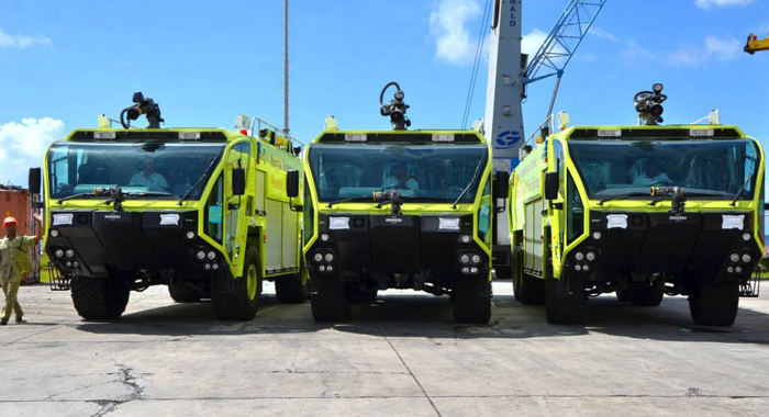 The government has officially received the three fire trucks for Argyle Int'l Airport. (Photo: Lance Neverson/Facebook)
