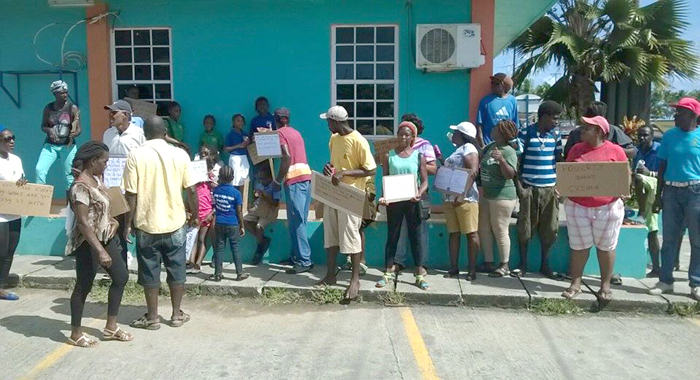 Protesters outside the Tobago Cays Marine Park office in Union Island on Friday. (Photo: Facebook)