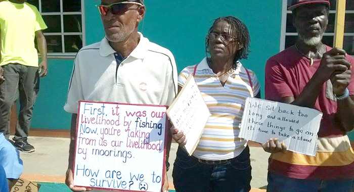Protesters outside the Tobago Cays Marine Park office in Union Island in November. (Photo: Facebook)