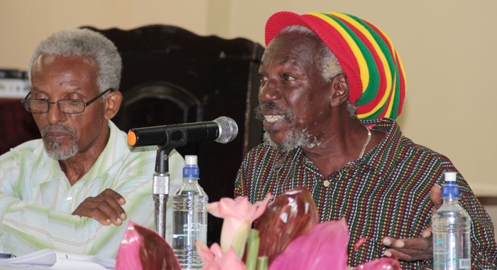 "Agronomist Clive ""Bish-I"" Bishop and former chief agricultural officer Philmore Isaacs at the press briefing. (IWN photo)"