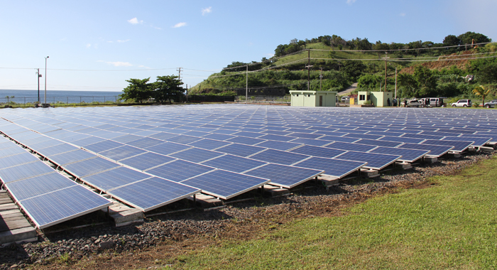 VINLEC commissioned this solar farm at its Lowmans Bay Power Plant on Monday. The IMF said on Tuesday that it agrees that renewable energy is the best way forward in SVG. (IWN photo)