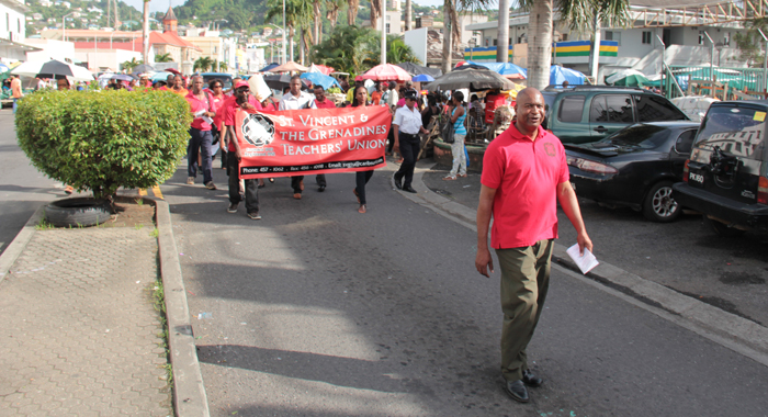 Robinson leads the solidarity march around Kingstown. (IWN photo)
