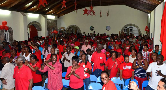 ULP supporters at the East St. George constituency conference on Saturday. (Photo: Lance Neverson/Facebook)