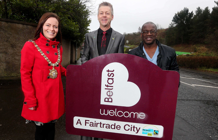 From Left; Nichola Mallon, lord mayor of Belfast; Christopher Stange, honarary consul for SVG to Northern Ireland and chair of Fairtrade Belfast; Reginald Clark, treasurer, Fairtrade Belfast.