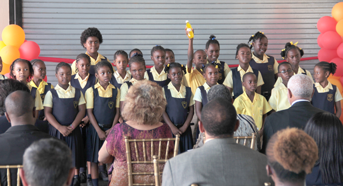 Students Of Lowmans Leeward Anglican School Perform A Coral Speech At The Ceremony Last Week. (Iwn Photo)