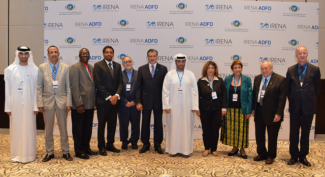 High-level representatives from IRENA, ADFD, the UAE Ministry of Foreign Affairs and the five countries awarded funding. (Photo: IRENA)