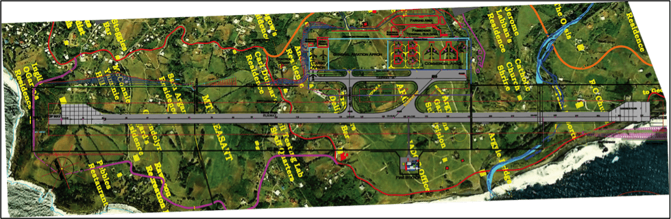 Figure 1: General plan (2013) of the Argyle International Airport (source: IADC)