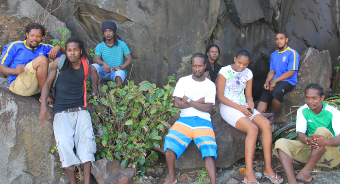 Cheslite Ballantyne, left, Okeino Bowens, second left, and other residents of Fancy helped to retrieve bodies. (IWN photo)