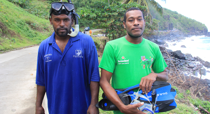 Oneal Thomas, left, and Dillon Baptiste went into the sea to look for the missing students. (IWN photo0