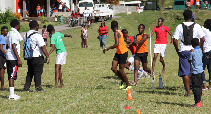 Athletes compete in an event at the Central Leeward Secondary School sports meet. (IWN photo)