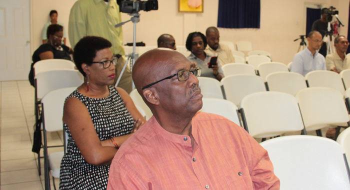 Leader of the Opposition Arnhim Eustace at  the discussion on Saturday. (IWN photo)