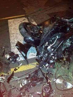 The motorcycle, after teh collision.