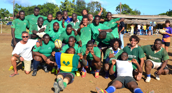 The victorious Vincentian rugby squad.