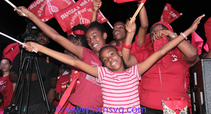 ULP supporters at Saturday's rally. (IWN photo)