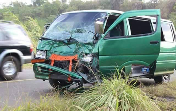 The minivan after the collision.  (Photo: Jerry S. George/Facebook)
