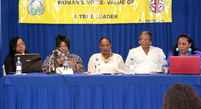From left: Anesia Baptiste, Rene Baptiste, Kay Bacchus-Browne (moderator),  Jennifer Eustace and Rev. Dawn Bacchus-Horan. (IWN photo)