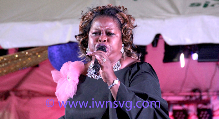 Bridget Blucher performs at SVG Gospel Fest on Sunday. (IWN photo)