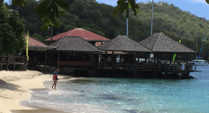 Famous Basil's Bar on Mustique, packed with tourists, as usual.