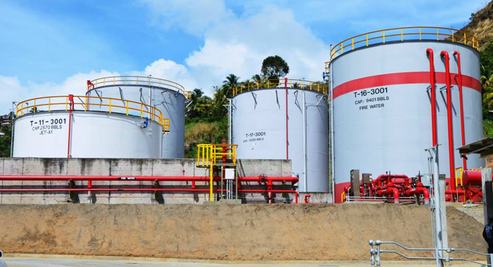 Storage tanks at the fuel depot in Lowmans Bay. (Photo: Lance Neverson/Facebook)