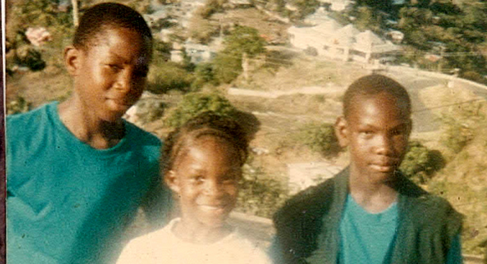 """Nick, right, along with his sister, Nakeisha (""""Krislyn""""), and brother Kenton during a family trip to Fort Charlotte."""