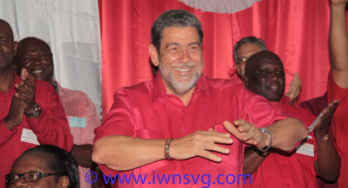 "Political leader of the ULP, Prime Minister Dr. Ralph Gonsalves has sought to portray his party as ""the change"". (Photo: Zavique Morris/IWN)"
