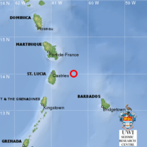 A UWI map showing the location of the earthquake.