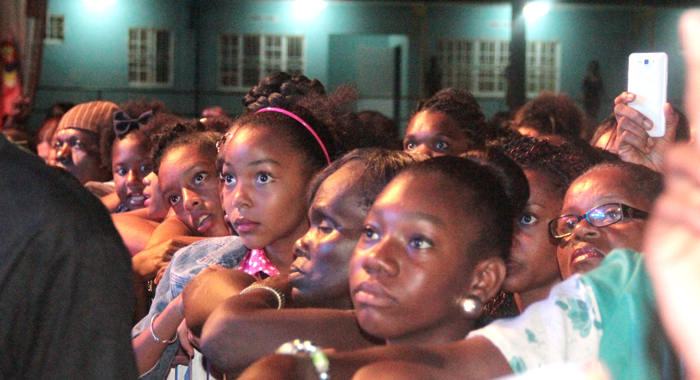 Future Miss SVG contenders? A number of young females in rapt attention at Saturday's show. (IWN photo)