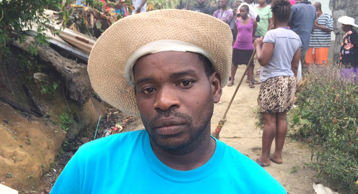 Leslie Peters, brother of Nathaniel Ollivierre, whose property was destroyed by fire. (IWN photos)