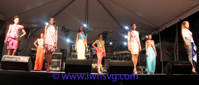 Miss SVG 2015 contestants at the launch of VIncy Mas 2015. (Photo: Zavique Morris/IWN)