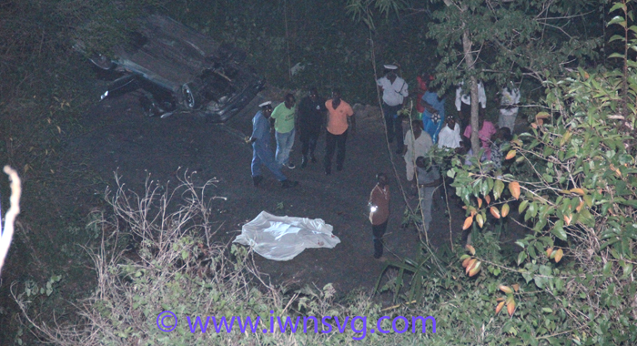 The car plunged several hundred feed from Coulls Hill to Troumaca Bottom. (IWN photo)