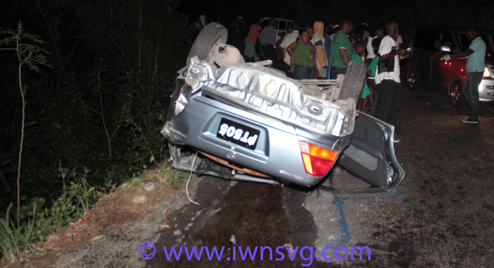 The car landed on the road in Troumaca Bottom after plunging over a cliff in Coulls Hill hundreds of feet above. (IWN photo)