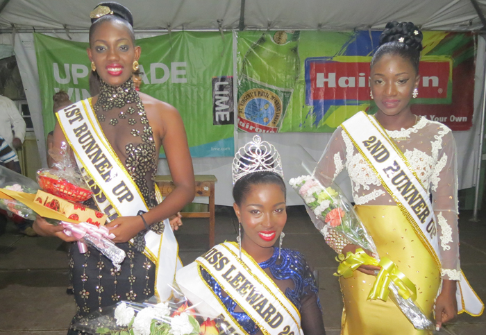Miss North Leeward 2015, Miss Rose Hall -Philicia Ashton, centre, First Runner-up First Runner-up was Miss Layou - Lanesha John, left, and Second Runner-up Second Runner-up was Miss Questelles - Camille Myers.