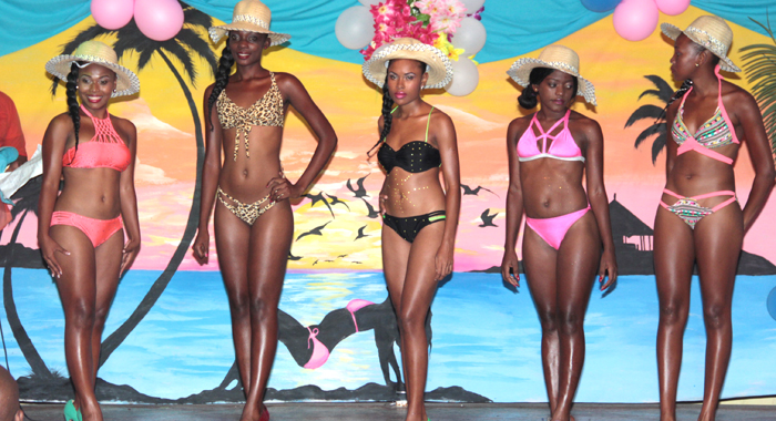 Contestants in bikini. From left: Janella Osment, Miss Sophisticated; Shafiker Hector, Miss Charismatic; Ruth-Ann Bowens, Miss Seductive; Indica Williams, Miss Prestige; and Mekeisha Johnson, Miss Foxy. (IWN photo)