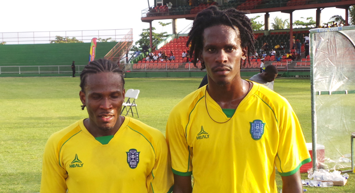 SVG goalscorers Tevin Slater and Corneilus Stewart. (Photo: E. Glenford Prescott0