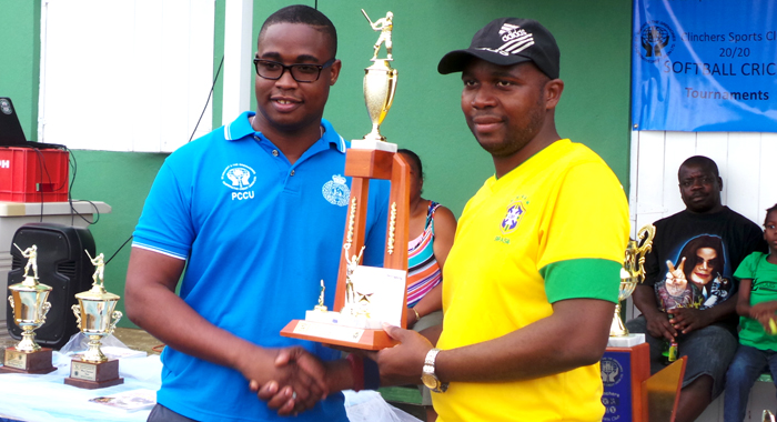 Carlos James of Country Meet Town Outa Trouble collects second place trophy. (Photo: E. Glenford Prescott)