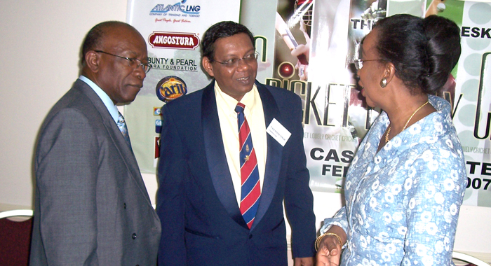 Jack Warner with journalist and book author Valentino Singh and then Trinidad Acting Sports Minister Joan Yulie-Williams at Cascadia Hotel.