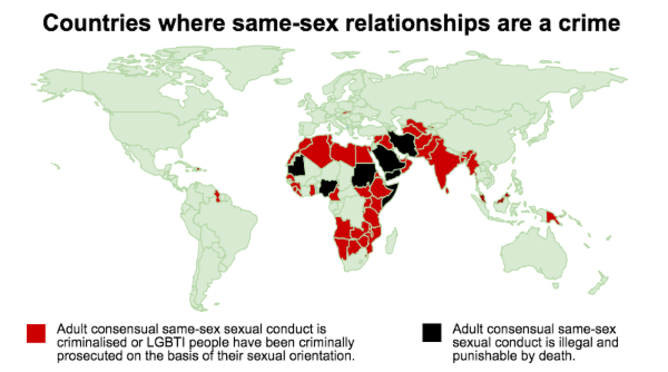 Countries where same-sex acts are criminalised.