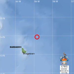A UWI map showing the location of one of the earthquakes.