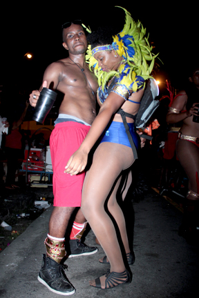 Hypa 4000 parties on the street of Kingstown during Mardi Gras. (IWN photo)