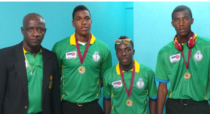 From left: Manager Parnel Browne, and selectees Obed McCoy, Romano Pierre and Othneil Lewis.