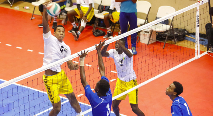 Action in the St. Vincent-St.Lucia volleyball final. (Photo: Oris Robinson)
