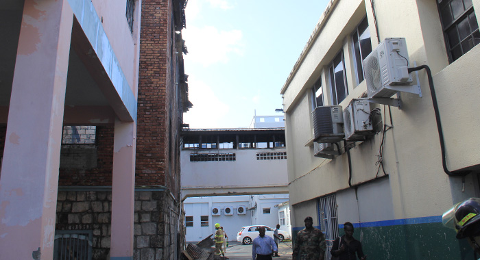 Gonsalves said the bridge between the buildings is  threat to pedestrians and vehicles. (IWN photo)